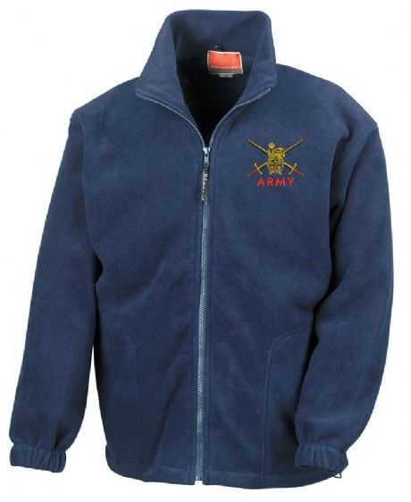 UK Military Heavyweight fleece jacket with British Army embroidered cap badges, Royal Navy and RAF.